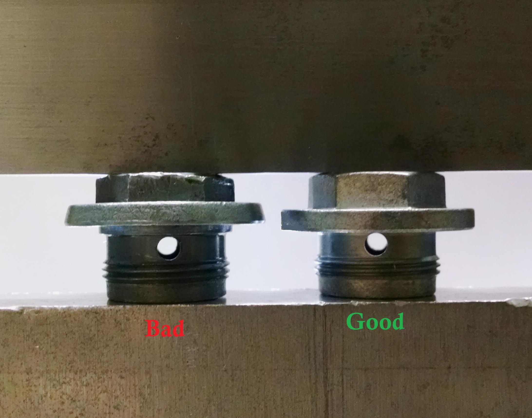 Good Drain Plug vs Bad Drain Plug
