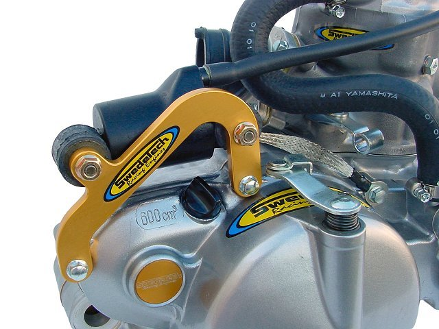 The CR80 bracket is secured to the primary clutch cover